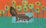 Reclining lady with Sunflowers Fine Art Print by Maria Travis