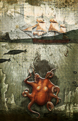 Paper III: Octopus/Ships Postcards, Greetings Cards, Art Prints, Canvas, Framed Pictures, T-shirts & Wall Art by Heather Landis