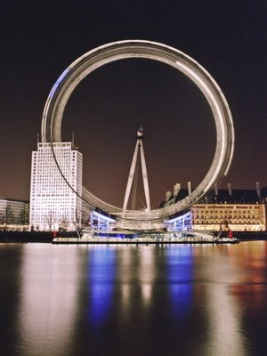 London Eye Millennium Wheel Night Fine Art Print by Assaf Frank