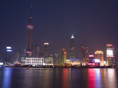 Shanghai Skyline Wall Art & Canvas Prints by Assaf Frank
