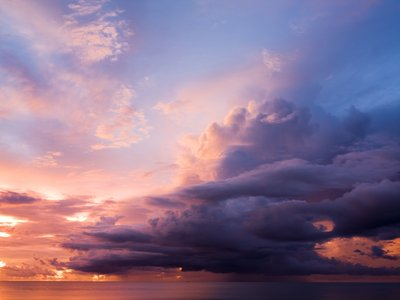 Clouds over sea at dusk, Malaysia Fine Art Print by Assaf Frank