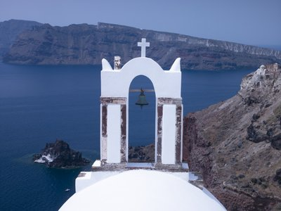 Greece, Cyclades. Santorini Island, Church with mountain in background Postcards, Greetings Cards, Art Prints, Canvas, Framed Pictures, T-shirts & Wall Art by Assaf Frank