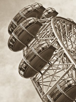 England, London, London Eye, Millennium Wheel, low angle view (Sepia) Fine Art Print by Assaf Frank