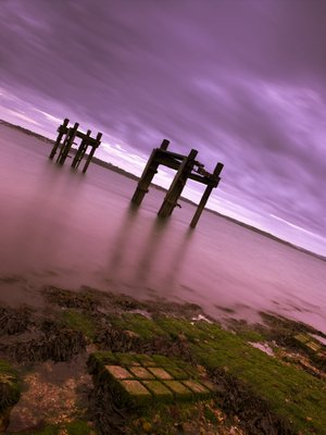 Old Jetty The Dolphins, Lepe Beach, Hampshire, UK Poster Art Print by Assaf Frank