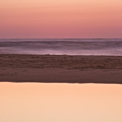 Suntset reflection in water, Palmachim Beach, Israel Fine Art Print by Assaf Frank