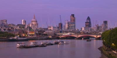 London skyline, river thames and Blackfriars bridge at dusk Fine Art Print by Assaf Frank