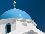 Greece, Mykonos Island. low angle view of church Fine Art Print by Assaf Frank