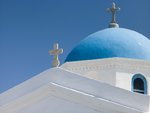Greece, Cyclades, Mykonos Island. low angle view of church Fine Art Print by Assaf Frank