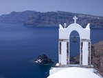 Greece, Cyclades. Santorini Island, Church with mountain in background Fine Art Print by Assaf Frank