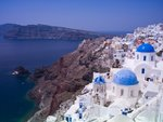 Greece, Cyclades, Santorini Island, View of Oia Poster Art Print by Assaf Frank