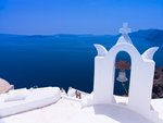 Greece, Cyclades. Santorini Island, Church bell with mountain in background Fine Art Print by Assaf Frank