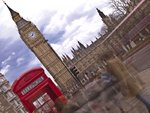 People on road and telephone box with big ben in background, England (blurred motion) Wall Art & Canvas Prints by Assaf Frank