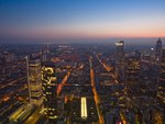 City skyline at dusk, Frankfurt, Germany Wall Art & Canvas Prints by Charlotte Johnson Wahl