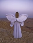 Angel standing on a cliff edge at dusk Fine Art Print by Assaf Frank