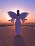 Angel standing on a road at sunrise Fine Art Print by Assaf Frank