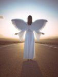 Angel standing on a road at sunrise Postcards, Greetings Cards, Art Prints, Canvas, Framed Pictures, T-shirts & Wall Art by Assaf Frank