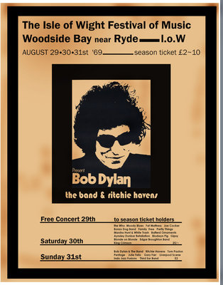 Bob Dylan poster, Isle Of Wight 1969 (1) by Rokpool - print