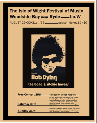 Bob Dylan poster, Isle Of Wight 1969 by Rokpool - print
