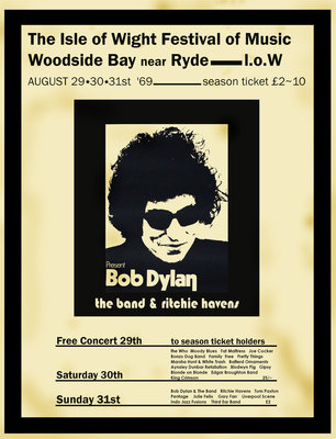 Bob Dylan poster, Isle Of Wight 1969 (2) by Rokpool - print