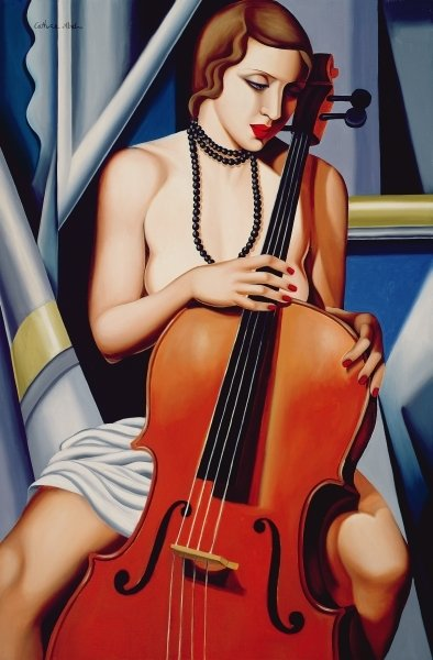 Woman with Cello (oil on canvas) Postcards, Greetings Cards, Art Prints, Canvas, Framed Pictures, T-shirts & Wall Art by Catherine Abel