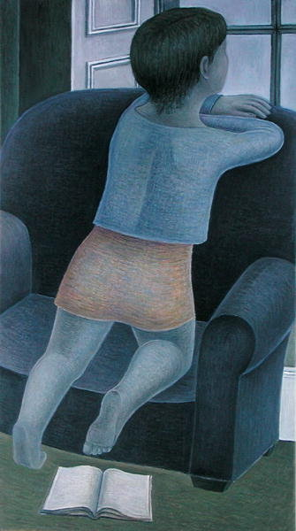 Girl on Chair, 2002 (oil on canvas) Wall Art & Canvas Prints by Ruth Addinall