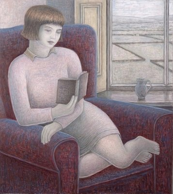 Girl Reading in Armchair, 2009 (oil on canvas) Fine Art Print by Ruth Addinall