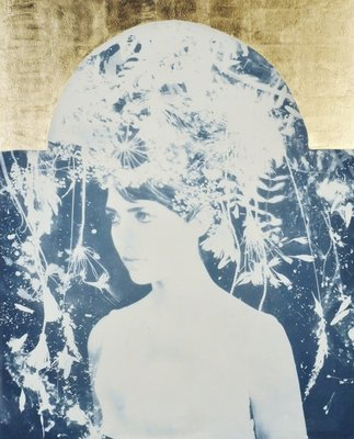 Asteria, 2014, (cyanotype with 22 carat gold leaf on paper) Postcards, Greetings Cards, Art Prints, Canvas, Framed Pictures, T-shirts & Wall Art by Rosie Emerson
