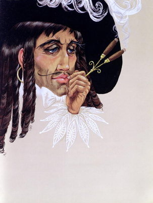 Captain Hook, from 'Peter Pan' by J.M. Barrie (gouache on paper) Fine Art Print by Anne Grahame Johnstone