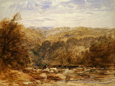 A Derbyshire River, 1845 Wall Art & Canvas Prints by David Cox