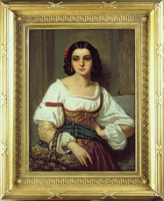 Italian Woman with Basket of Grapes, 1862 Wall Art & Canvas Prints by Arnold Ferdinand Ewald