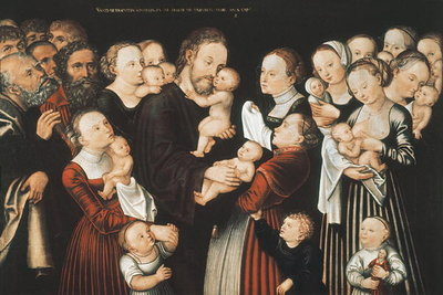 Jesus and the Children, early c16th Fine Art Print by Lucas, the Elder Cranach