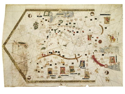 Portolan Chart of Gabriel de Vallseca, 1439 Fine Art Print by Spanish School