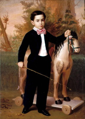 Portrait of a Boy with a Horse, 1851 Fine Art Print by Antonio Maria Esquivel