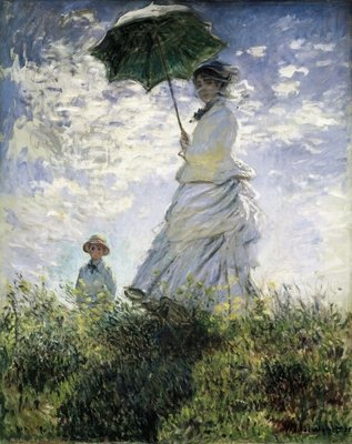Woman with a Parasol - Madame Monet and Her Son, 1875 Fine Art Print by Claude Monet