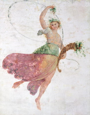 Young Dancer with a Cornucopia and a Bunch of Grapes Fine Art Print by Carlo Bevilacqua