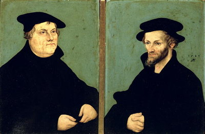 Double Portrait of Martin Luther Fine Art Print by Lucas, the Elder Cranach
