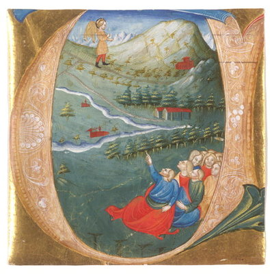 Historiated initial depicting Elisha in the Mantle of Elijah, cutting from an antiphonary, c.1440 Fine Art Print by Italian School