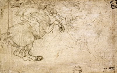 A Horseman in Combat with a Griffin Fine Art Print by Leonardo Da Vinci