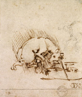 A Unicorn Dipping its Horn into a Pool of Water, c.1481 Wall Art & Canvas Prints by Leonardo Da Vinci