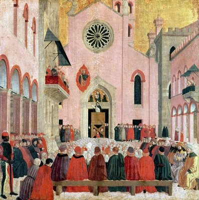 St. Vincent Ferrer Preaching in front of the Church of Sant' Eufemia in Verona Wall Art & Canvas Prints by Bartolomeo degli Erri