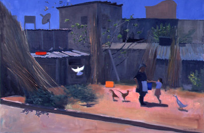 Basket Weavers Yard, Cyprus, 1996 (oil on canvas) Wall Art & Canvas Prints by Andrew Macara