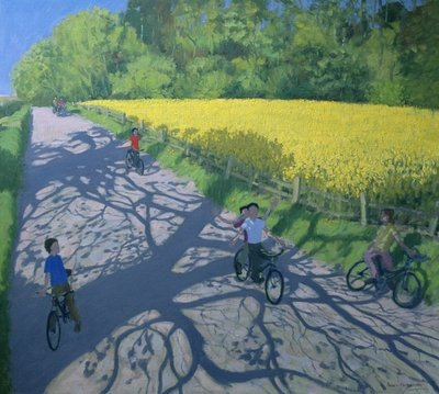 Cyclists and Yellow Field, Kedleston, Derby Fine Art Print by Andrew Macara
