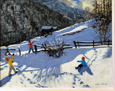 Snowballers, Zermatt (oil on canvas) Wall Art & Canvas Prints by Andrew Macara
