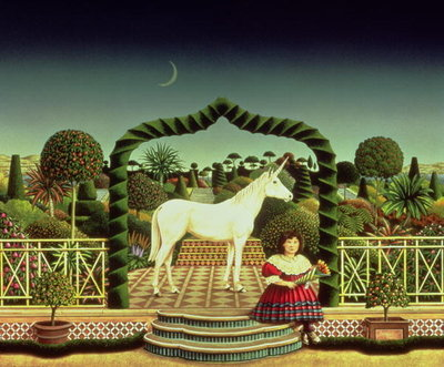 Girl with a Unicorn, 1980 (acrylic on board) Wall Art & Canvas Prints by Anthony Southcombe