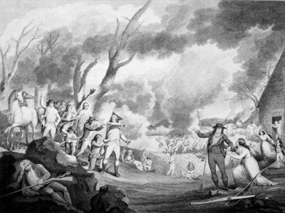 Battle of Lexington, April 19th 1775, engraved by Cornelius Tiebout Fine Art Print by American School