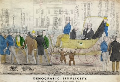 Democratic simplicity, or, The arrival of our favorite son, published by H R Robinson, New York, c.1839 Fine Art Print by American School