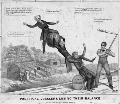 Political jugglers losing their balance, published by J Childs, New York, 1840 Poster Art Print by Edward Williams Clay