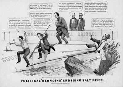 "Political ""Blondins"" crossing Salt River, published by Currer & Ives, New York, 1860 Poster Art Print by American School"