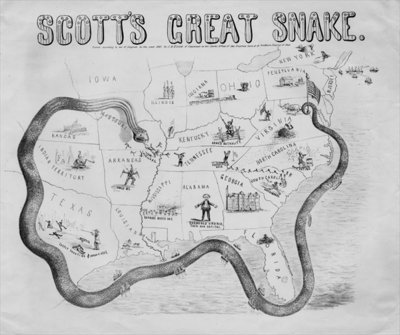 Scott's great snake, published in Cincinnati, 1861 Fine Art Print by J. B. Elliott