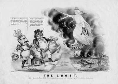 The ghost: a new spectral illusion, lately discovered in Europe, and now causing a great commotion in America, published by Currier & Ives, New York, 1863 Poster Art Print by American School